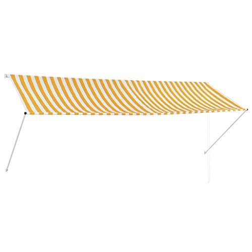 vidaXL Markise Gelb Weiß 350x150cm Sonnenschutz Beschattung Windschutz Garten