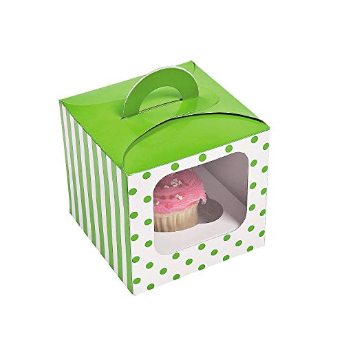 1 Dozen - Lime Green Polka Dot Cupcake Boxes With Handle - Party Favors by Fun Express
