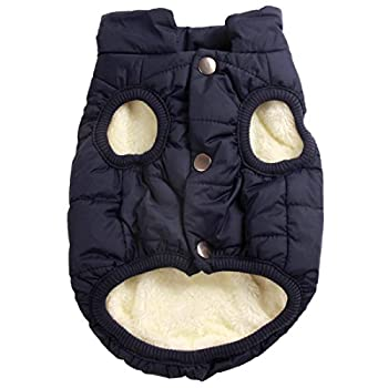 JoyDaog 2 Layers Fleece Lined Warm Dog Jacket for Puppy Winter Cold Weather,Soft Windproof Small Dog Coat,Blue XS