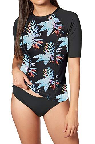 Viottiset Damen Rash Guard Sporthemd Kurze Ärmel sportlich Sonne Schutz Schwimmen Oberhemd Türkis M