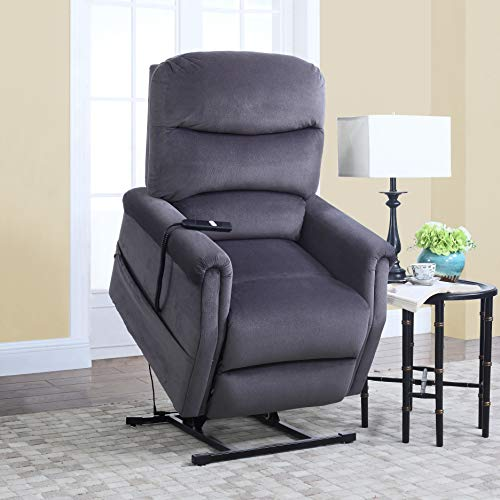 Divano Roma Furniture Classic Plush Power Lift Recliner Living Room Chair, Large, Blue