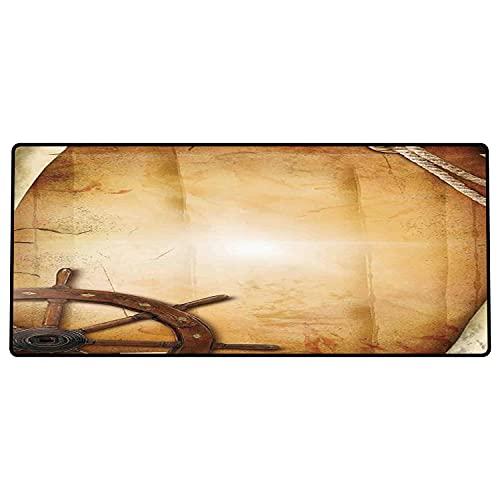 Alfombrilla de ratón para Juegos 600 x 300x3 mm,Decoración de Rueda de Barcos, ilustración de Volante en Papel Antiguo histórico Arte marítimo it Base de Goma Antideslizante, Adecuada para Jugadores