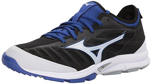 Mizuno Men's Players Trainer 2 Turf Baseball-Shoes,Black/Royal,9.5 D US