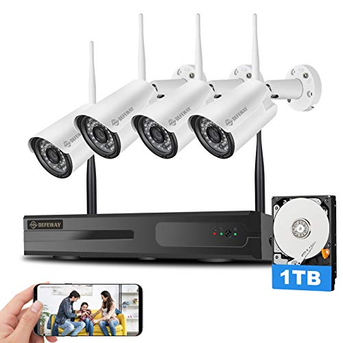 【Expandable 8CH】 DEFEWAY Wireless Security Camera System with 1TB Hard Drive with One-Way Audio, 8 Channel NVR 4Pcs 1080P 2.0MP Night Vision WiFi IP Security Surveillance Cameras Home Outdoor