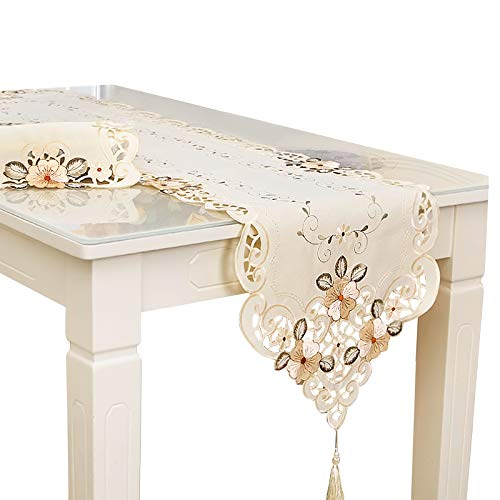Rehomy Camino de mesa, cubierta de mesa de té, decoración vintage bordado flores camino de mesa