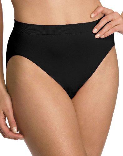Bali Women`s Set of 6 Comfort Revolution Microfiber Seamless Hi Cut Panty 6/7, Black