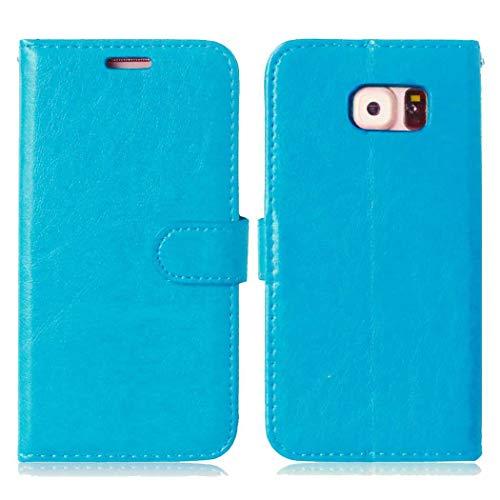 Galaxy S6 Hülle, CAXPRO® Handyhülle Premium Leder Brieftasche Flip Schutzhülle mit Standfunktion und Kartenfach für Samsung Galaxy S6, Blau