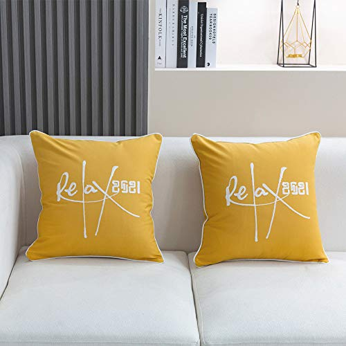 YIcabinet Pack of 2 Relax Cotton Throw Pillow Case 2021 Number Embroidery Cushion Cases Decor Soft Pillowcases for Couch Sofa Bedroom Car
