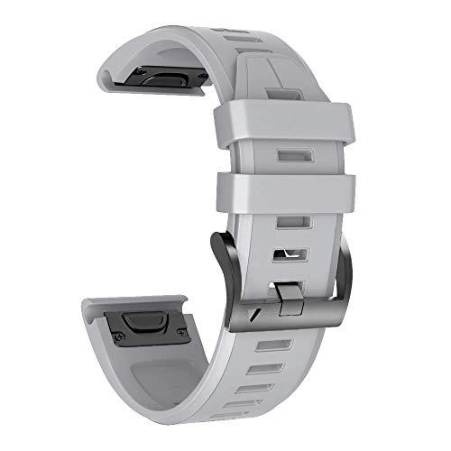 Armband für Garmin Fenix 5X /Fenix 5X Plus/Fenix 6X /Fenix 6X Pro/Fenix 3 /Fenix 3 HR, 26mm Breite Silikon Quick-Fit Uhrenarmband für Garmin, Mehrfache Farben (Grau)