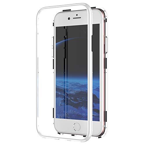 Urhause Kompatibel mit iPhone 8 Plus Hülle,Magnetverschluss Glaskasten,Metall Stoßstangenrahmen mit Transparentem Gehärtetem Glas Case Einteiliger Design Handyhülle Ganzkörperschutz Flip Cover Weiß