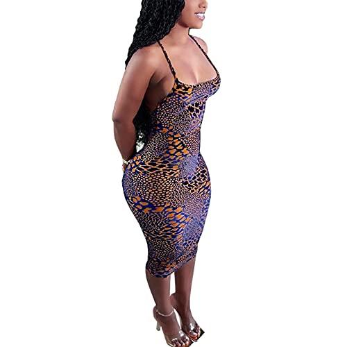 Kaenwang Vestido de tirantes Y2K para mujer, vestido de longitud media de cuello cuadrado de impresión casual, leopardo, XXXL