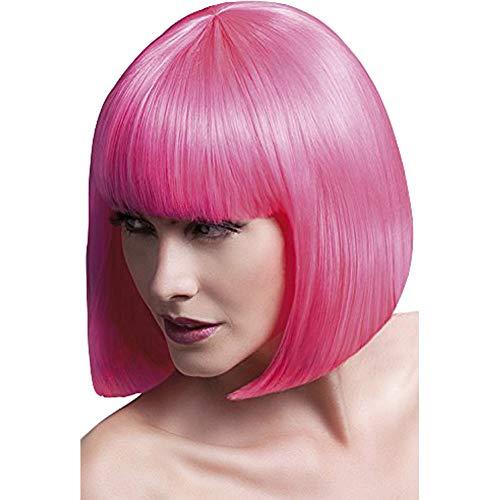 Fever dames gladde Bob met pony pruik, 33 cm, elise pruik, neon roze, één maat, 42565