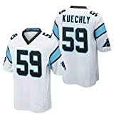 Camiseta de Rugby para Hombre Camiseta de fútbol # 59 Luke Kuechly Carolina Panthers Camiseta Transpirable Suelta de Secado rápido Cómoda Camiseta Casual de Manga Corta Polo-White-XL(188.193CM)