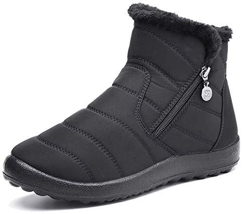 Botas de Nieve para Mujer Niñas,Camfosy Botines de Invierno Impermeables Piel Interior cálida Zapatos Planos Tacón Plano Ciudad Botas Antideslizante Cómoda Negro Azul Rojo 2020