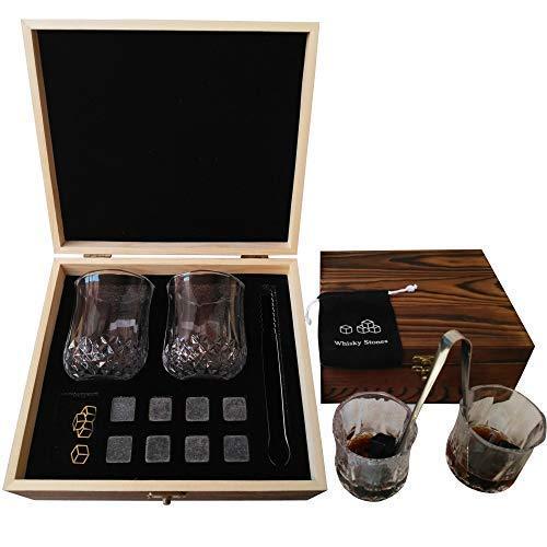 MEEQIAO Set da Regalo di Pietre e Bicchieri di Whisky: 8 Pietre Raffreddanti & 2 Bicchieri da Bar, 1 Pinze per Pietre da Scotch, 2 Sottobicchieri, Riutilizzabili per Uomo & Donna