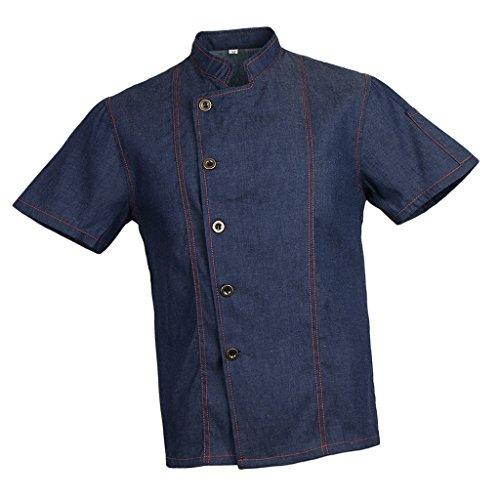 Sharplace Cappotto da Cuoco Camicia di Jeans Unisex Giacca per Adulti Maniche Corte - Blu, 3XL