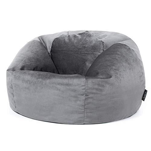 """Icon Klassischer Sitzsack """"Milano"""", Anthrazit, 85cm x 50cm, Sitzsäcke für das Wohnzimmer, Groß, Plüschsamt"""