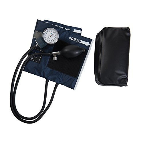 MABIS/DMI Healthcare Mabis Caliber Series Aneroid Sphygmomanometer Manual Blood Pressure Monitor, Cuff Size 13 to 20 Inches, Large Adult