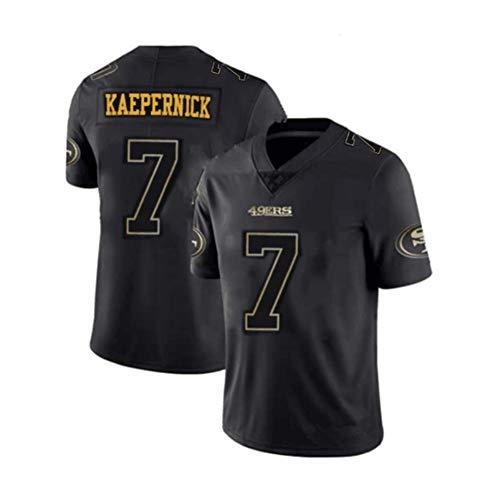 Rugby-Trikot Colin Kaepernick # 7 San Francisco 49ers American-Football-Trikot, Unisex Sports Kurzarm-Sweatshirt Fitness Atmungsaktive Stickerei Wiederholbare Reinigung Bestes Geschenk-black-2XL