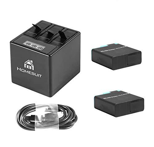 Homesuit Akku (2 Pack) und 3 Kanal LCD USB Ladegerät für GoPro Hero 8 Black, Hero 7, Hero 6 Black mit Typ-C USB Kabel
