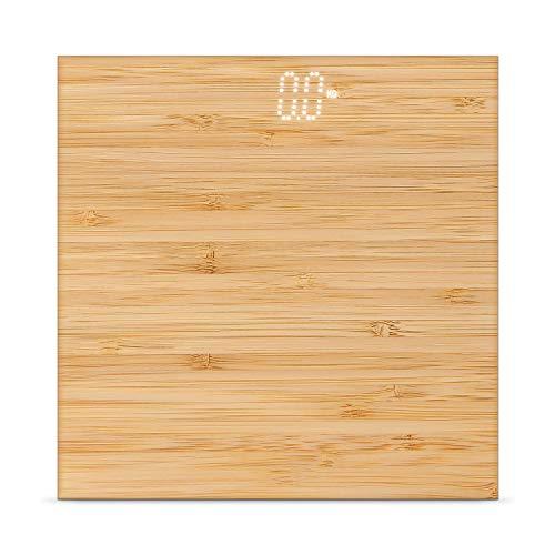 IKOHS BALANCE BODY BAMBOO - Báscula de baño de bambú, compacta, Capacidad de 180 kg, Laminado de Bamboo Natural (bambú)