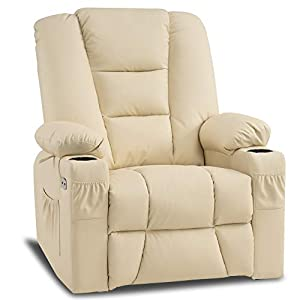 Mcombo Manual Swivel Glider Rocker Recliner Chair with Massage and Heat for Nursery, USB Ports, 2 Side Pockets and Cup Holders, Durable Faux Leather 8036 (Cream White)