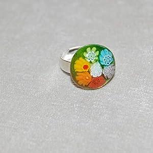 Anillo Murano, base de cristal de Murano 15, con aro de bisutería ajustable. Piezas únicas de TiendasArtesano