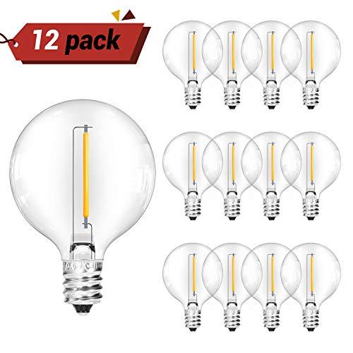 OxyLED G40 LED Bombillas de repuesto para luces de cadena de jardín al aire libre,12 LED bombillas transparentes, blanco cálido