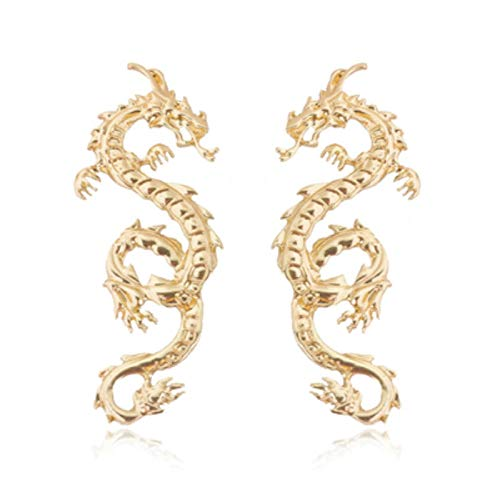 QIN Vintage Chinese Dragon Spiral Earrings Women's Punk People Characters Totem Earrings Declaration Jewelry Gifts