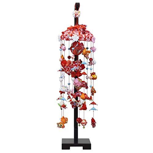 つるし雛 つるし飾り 雛人形 金魚と桜 中サイズ (高さ90cm) 飾り台付き