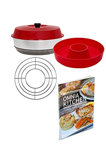 Omnia Backofen 4-teiliges Spar-Set | Backofen + Silikon-Backform 2.0 + Kochideen Kochbuch + Aufbackgitter
