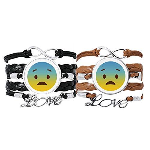 DIYthinker niedliches Keyboard-Armband, Gelb Smiley Illustration Schema Liebe Paare Leder Seil
