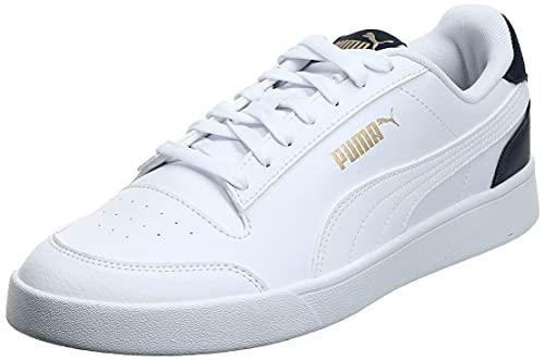 PUMA Shuffle, Scarpe da Ginnastica Unisex-Adulto, Bianco White-Peacoat Team Gold, 44 EU