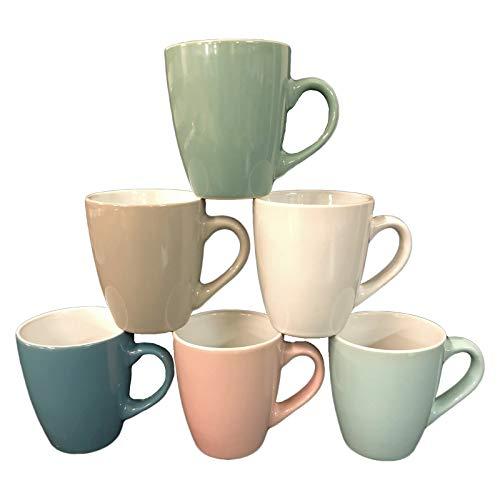 ZD Trading Kaffeebecher 6 Stück Bunt Tassen 150 ml aus Keramik Pastell Kaffee Becher Tasse 6er Set
