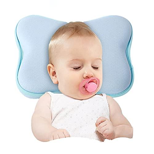 Almohada para la Cabeza del bebé, Hyacinthy Almohada de Espuma viscoelástica con Fundas de Almohada extraíbles y Toalla de Saliva, cojín para plagiocefalia con estereotipo de Cabeza Plana para bebés