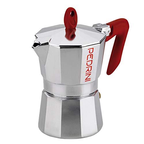 PEDRINI Kaffeemaschine, Moka für Espresso, Aluminiumlegierung EN 601, italienisches Design (Rot, 3 Tasse)