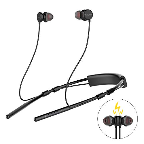 Meidong Bluetooth Headphones 10H Playtime V5.0 Wireless Neckband Earbuds with Magnetic Earbuds CVC6.0 Noise Cancelling Micphones (Black)