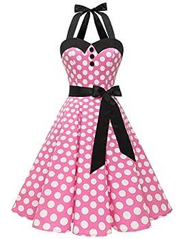 Dressystar Vintage Polka Dot Retro Cocktail Prom Dresses 50 s 60 s Rockabilly Bandage Pink White dot XXL