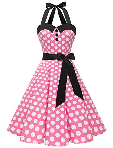 Dressystar Vintage Polka Dot Retro Cocktail Prom Dresses 50's 60's Rockabilly Bandage Pink White dot m
