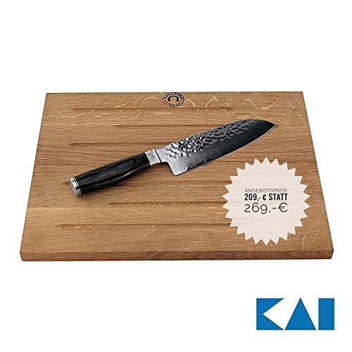 Kai Shun Premier Tim Mälzer Geschenkset | Santokumesser 18 cm TDM-1702 Japan Messer | + massives großes Kai-Schneidebrett aus Eiche (40x30 cm) | VK: 289,- €