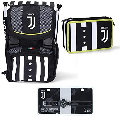 Juventus Schoolpack Winner Forever Zaino Estensibile più Astuccio 3 Zip Completo Di Cancelleria - Orologio Ufficiale Juventus in Omaggio