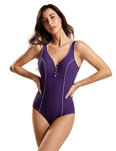 DELIMIRA Damen Einteiler Bademode - Schalen Schlankheits Badeanzug Violett 44