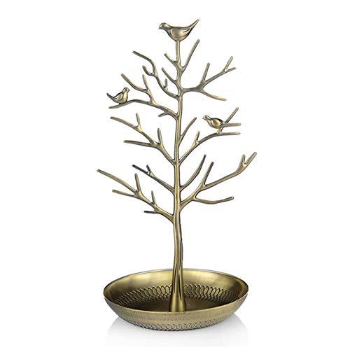 Organizador de árbol de joyería, soporte de exhibición de árbol de joyería de aleación para pendientes, collar y anillo, color cian antiguo