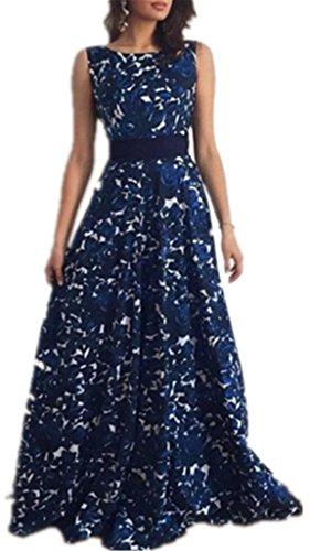 AILIENT Damen Elegant Rundhals Rückenfrei Kleine Blumendruck Drucken Taille Kleid Schlanke Maxikleider Strandkleid Cocktailkleid Partykleid