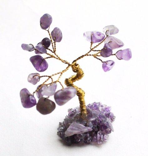 Natur Miniatur Amethyst Kristall Chips Edelstein Baum als Geschenk verpackt.