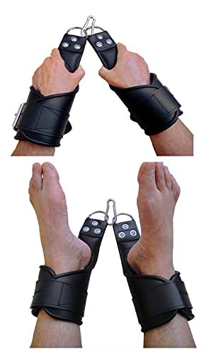 Bondage Leder Hand und Fuß Hänge Fesseln Hängefesseln als Handfesseln und Fußfesseln nutzbar soft gepolstert Hänge Fesseln Bondage