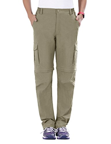 Unitop Women's Quick Dry Convertible Hiking Pants Khaki S 30.5'