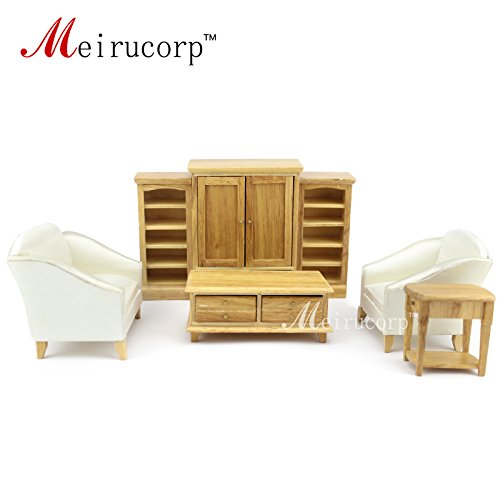 Meirucorp Dollhouse 1/12 Scale Miniature Furniture Wooden Hand Living Room 7 pcs Set Sofa Table Cabinet