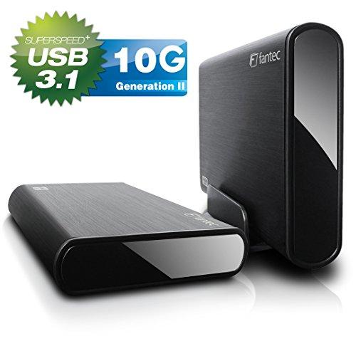 FANTEC DB-ALU31 Externes Festplattengehäuse (für den Einbau einer 3,5 Zoll und 2,5 Zoll SATA I/II/III HDDs und SSDs Festplatte. Mit USB 3.1 Typ-C SUPERSPEED+ 10G Anschluss, schwarz