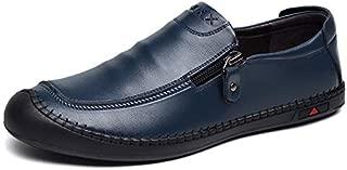FYdgb Men's Leather Shoes Fashion Casual Breathable Slip-on Zipper Men's Shoes